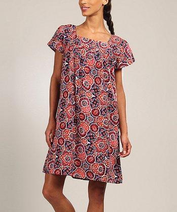 Red & Blue Geometric Shift Dress