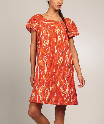 Orange & Red Abstract Shift Dress