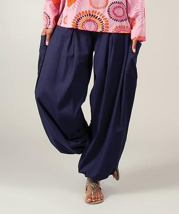 Navy Flow Harem Pants