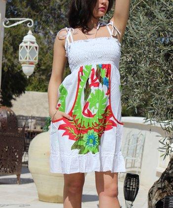 White & Green Paisley Smocked Empire-Waist Dress
