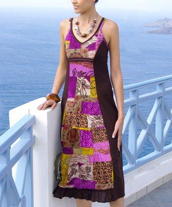 Purple & Chocolate Patchwork Midi Dress