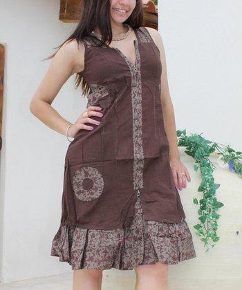 Brown Floral Zip V-Neck Dress