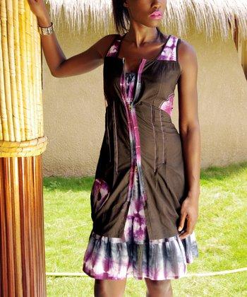 Brown & Pink Tie-Dye Zip V-Neck Dress