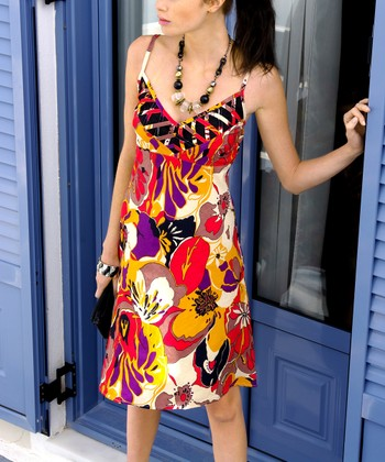 Yellow & Red Floral V-Neck Dress