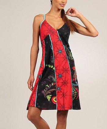 Red & Black Patchwork V-Neck Dress
