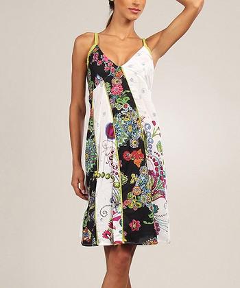 White & Black Floral Patchwork V-Neck Dress