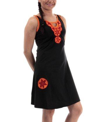 Black & Orange Medallion Scoop Neck Dress