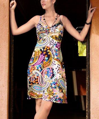 Purple & Blue Paisley A-Line Dress