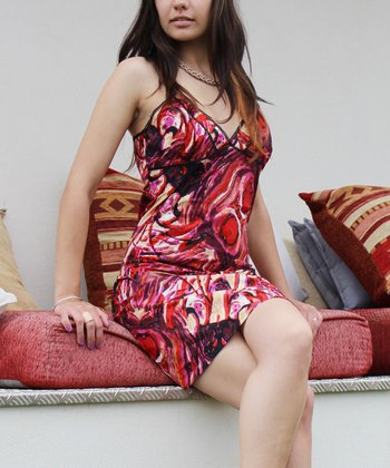 Red Abstract Swirl V-Neck Dress