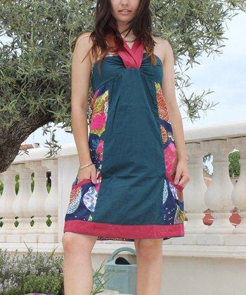 Deep Teal Abstract Pocket V-Neck Dress