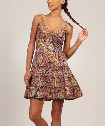 Taupe Paisley Ruffle A-Line Dress