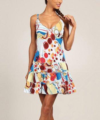 Burgundy & Yellow Circle Ruffle A-Line Dress