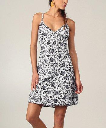 Black & White Floral V-Neck Dress