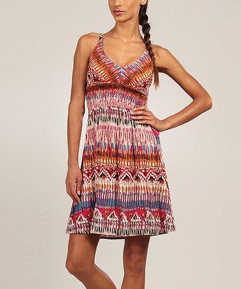 Pink & Blue Abstract V-Neck Dress