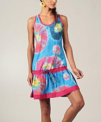Turquoise & Pink Tie-Dye Drop-Waist Dress
