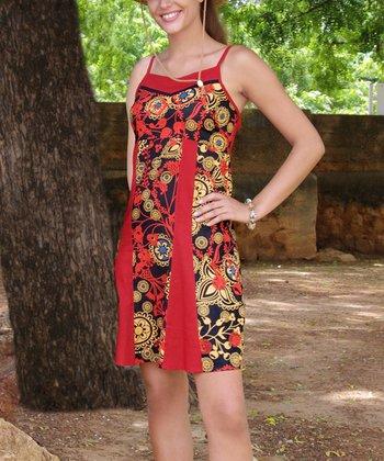 Red & Gold Floral V-Neck Dress