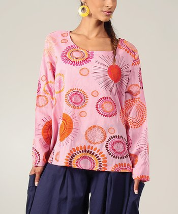 Pink Sunburst Scoop Neck Top