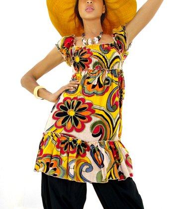 Yellow & Red Daisy Flutter Empire-Waist Top
