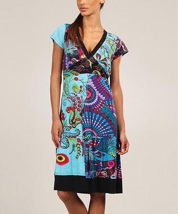 Turquoise Geometric Patchwork V-Neck Dress