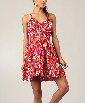 Red & Pink Streak Ruffle V-Neck Dress