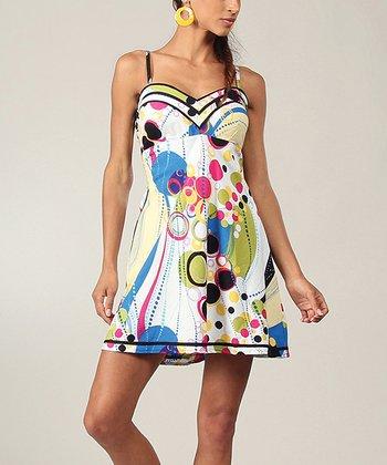 Yellow & Blue Geometric Sweetheart Dress
