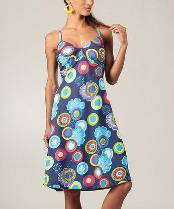 Blue & Turquoise Geometric Midi Dress
