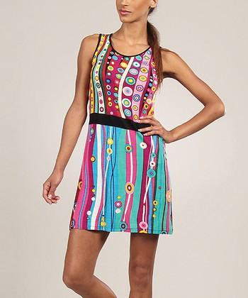 Turquoise & Pink Geometric Scoop Neck Dress
