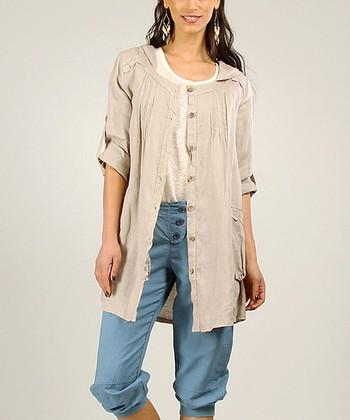 White Linen Sidetail Tunic