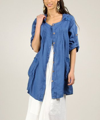 Beige Linen Button-Up Jacket