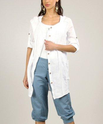 Gray Linen Open Cardigan