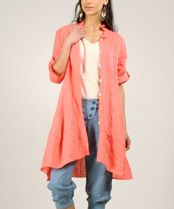 Coral Linen Button-Up Jacket
