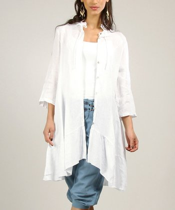 White Linen Button-Up Jacket