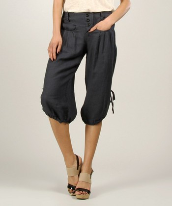 Navy Linen Capri Pants