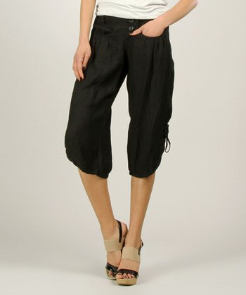 Black Linen Capri Pants