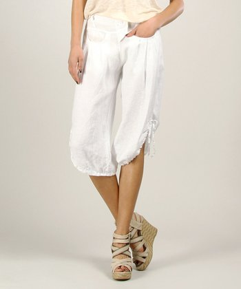 White Gathered Linen Sleeveless Dress