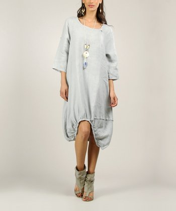 Gray Linen Ruched Dress Ruched Dress