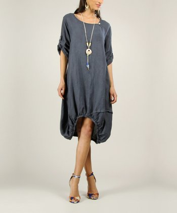 Navy Linen Ruched Dress