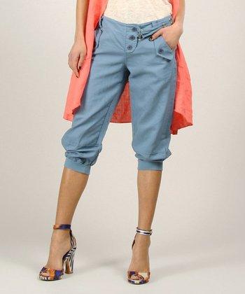 Blue Linen Capri Jeans