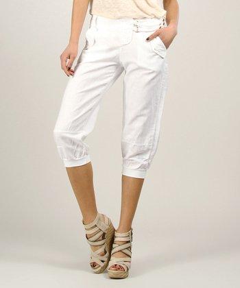 White Linen Open Cardigan