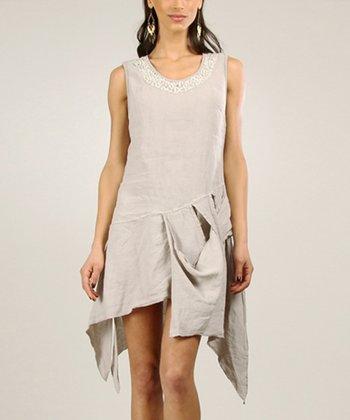 White Linen-Blend Shorts