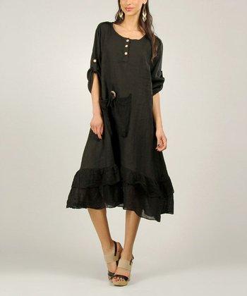 Black Linen Ruffle Dress
