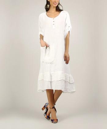 White Linen Ruffle Dress