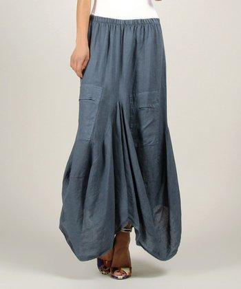 Blue Linen Maxi Skirt