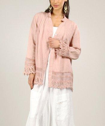 Old Pink Linen Sidetail Dress
