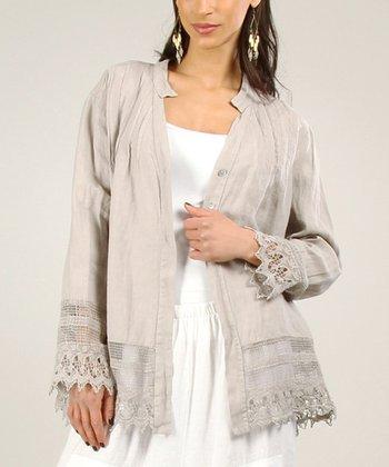 Gray Linen-Blend Shorts