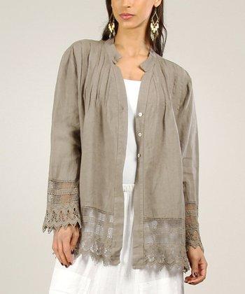 Beige Linen Sidetail Dress