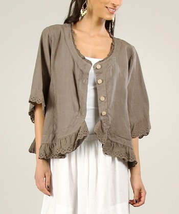 Chocolate Scalloped Linen Jacket