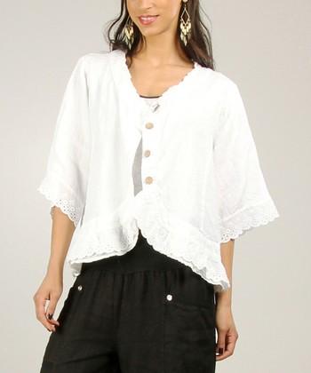 White Scalloped Linen Jacket