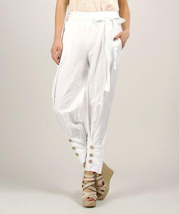 White Linen Capri Pants