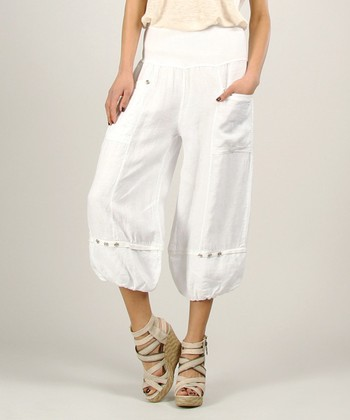 White Linen Ruched Pants